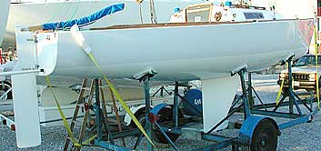 Ray Wulff's J/22, after keel and rudder were faired and hull, keel, and rudder were repainted