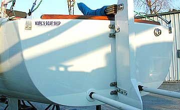 Stern detail -- Ray Wulff's J/22 after fairing and painting.
